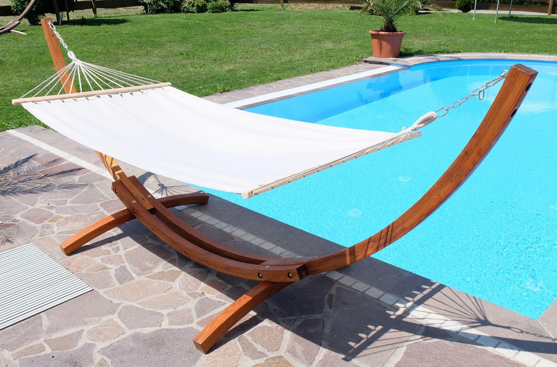 350cm xl luxus h ngemattengestell mit h ngematte gestell l rche holz mit stabh ngematte lucia. Black Bedroom Furniture Sets. Home Design Ideas