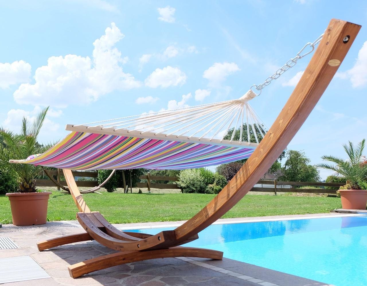 410cm xxl luxus h ngemattengestell aus holz l rche mit h ngematte limited edition edelstahl. Black Bedroom Furniture Sets. Home Design Ideas