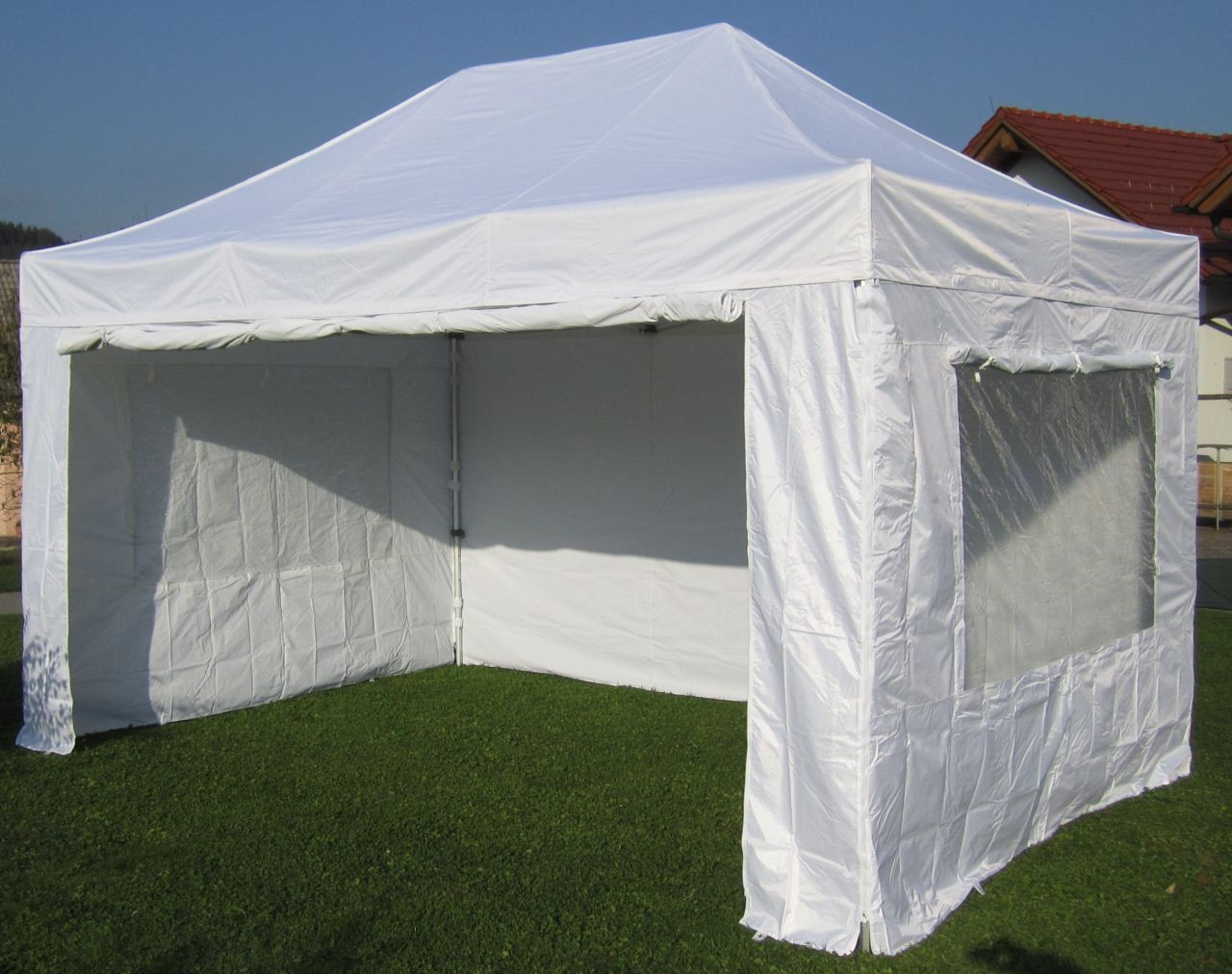 alu profi faltzelt pavillion marktzelt tent 3x4 5m 40mm hex feuerfeste planen ebay. Black Bedroom Furniture Sets. Home Design Ideas