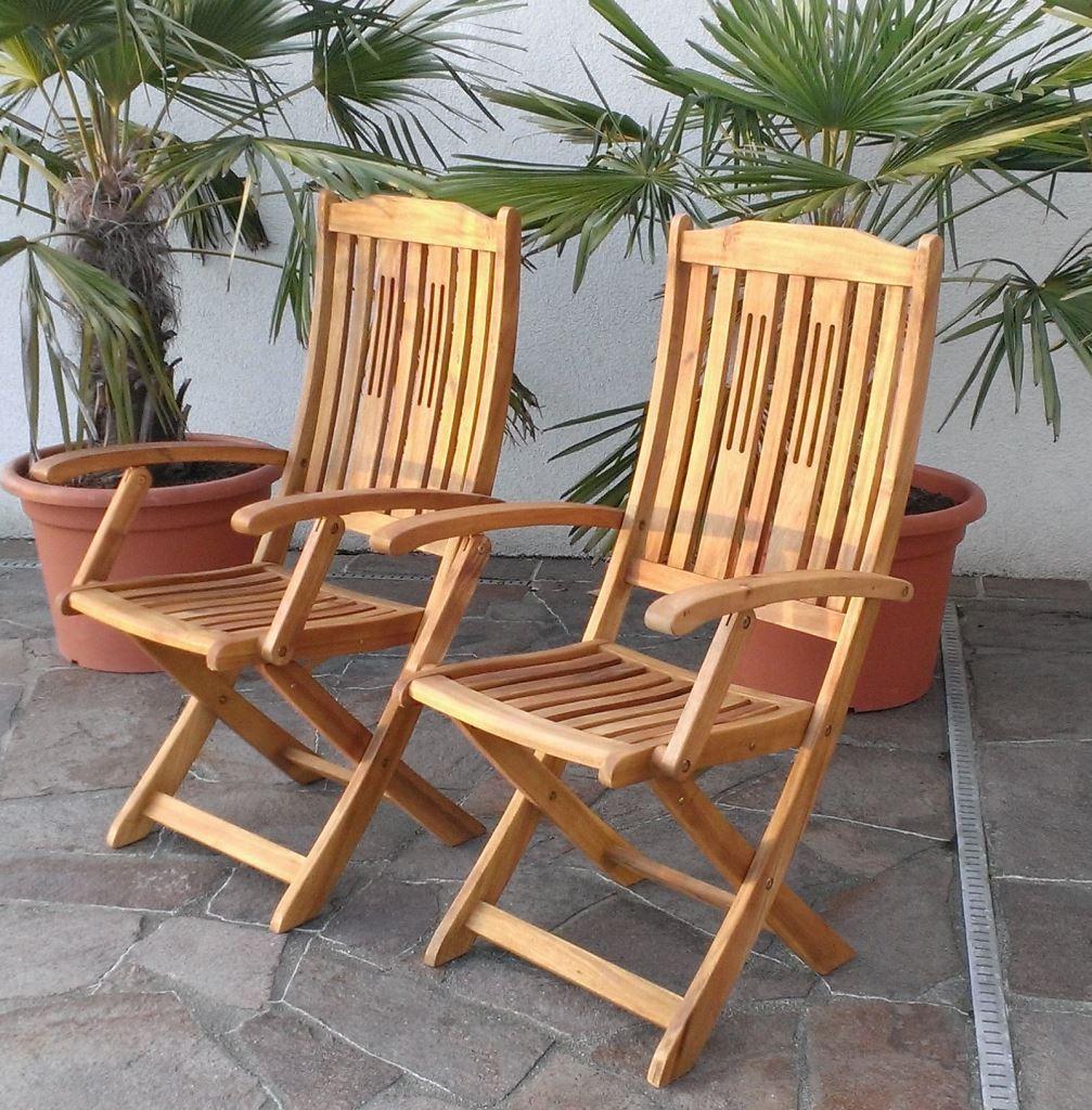 2x klappsessel gartenssessel gartenstuhl m armlehne holz barbados s22 akazie ebay. Black Bedroom Furniture Sets. Home Design Ideas