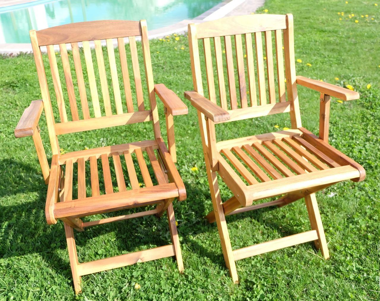 2x gartensessel gartenstuhl sessel holzsessel armlehne holz akazie w teak c4016h ebay. Black Bedroom Furniture Sets. Home Design Ideas