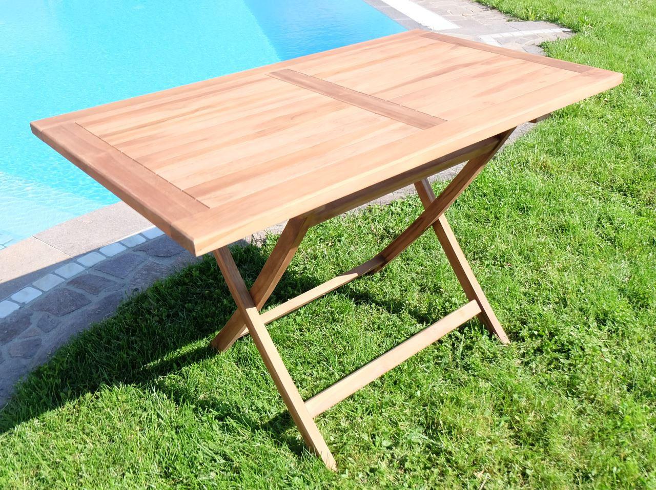 Hollywoodschaukel Holz Billig ~   Holztisch Gartentisch Garten Tisch 120x70cm  AVES  Holz geölt 007