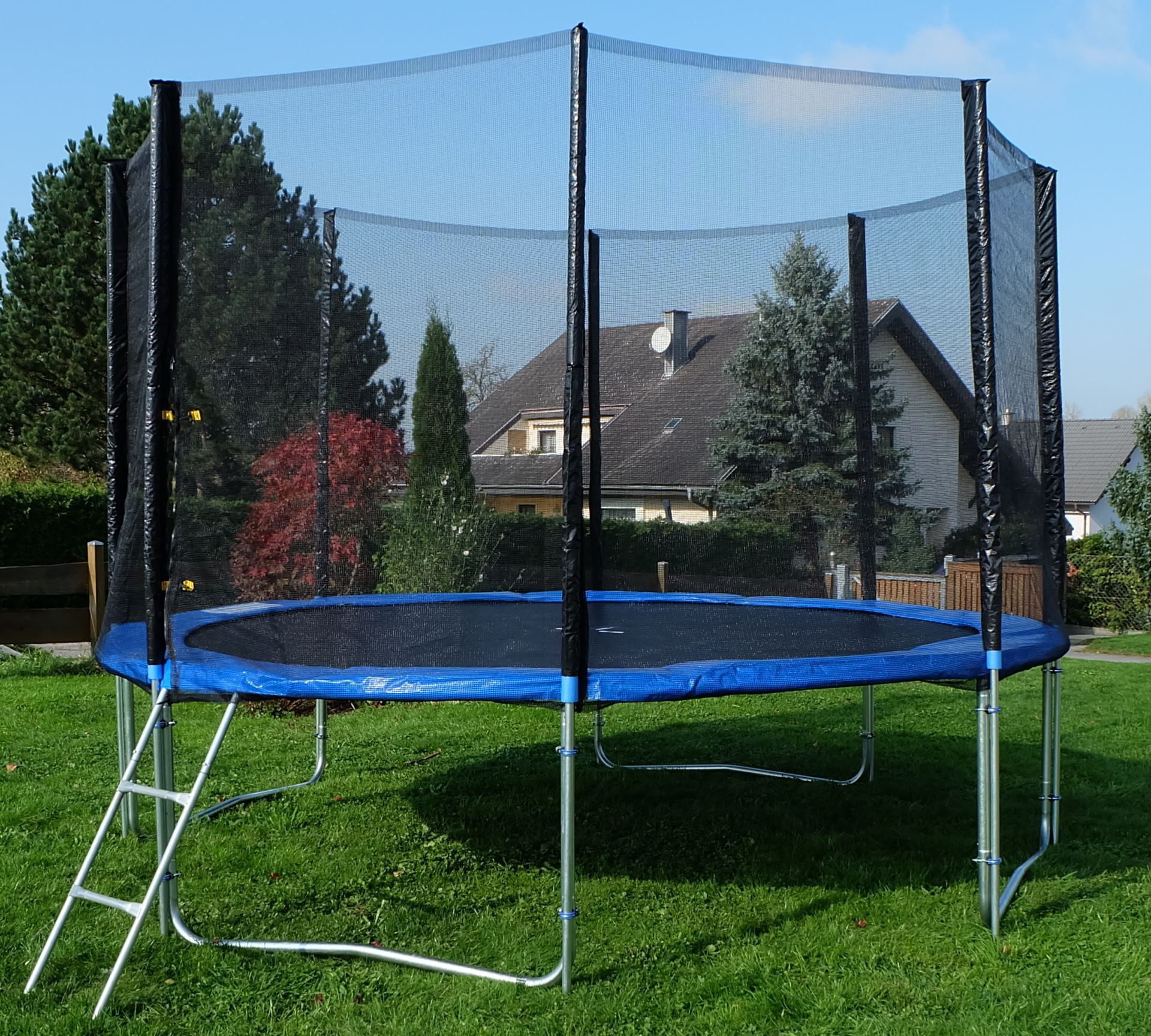 outdoor gartentrampolin trampolin 314cm m sicherheitsnetz leiter t v gepr ft ebay. Black Bedroom Furniture Sets. Home Design Ideas