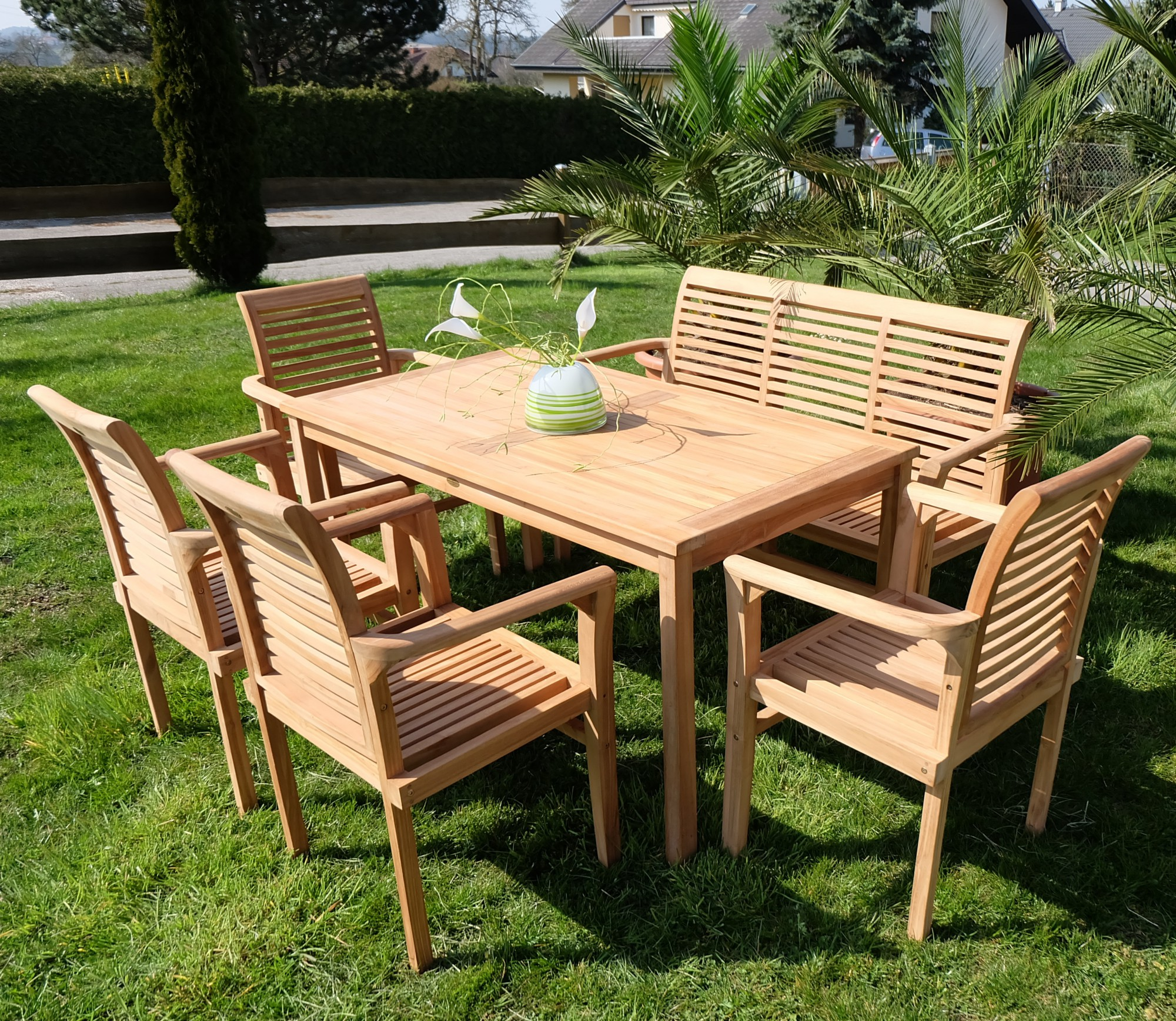echt teak gartengarnitur gartenset gartenm bel tisch 1bank 4sessel alpen holz ebay. Black Bedroom Furniture Sets. Home Design Ideas