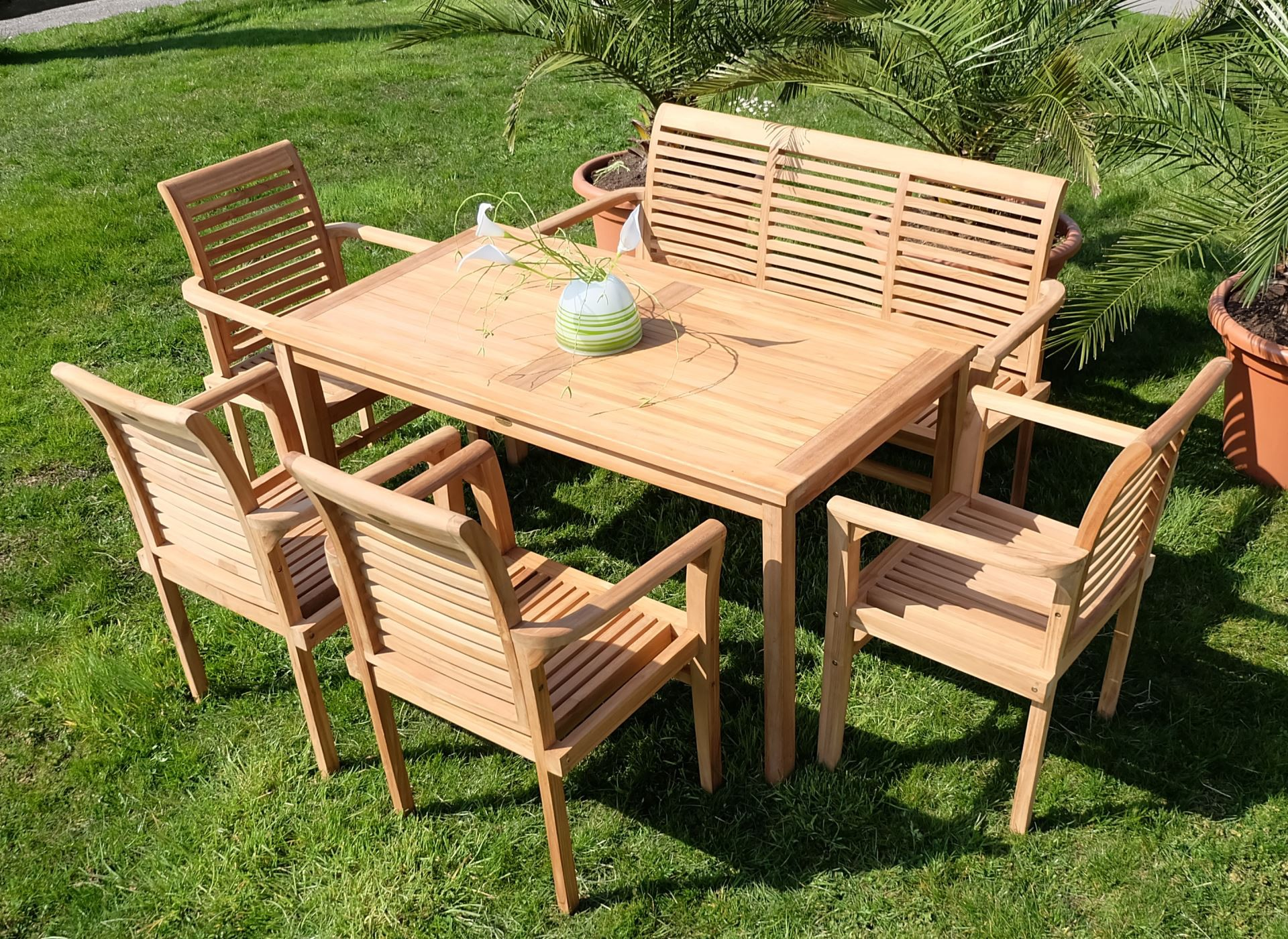 teak xxl set gartentisch 1 bank 4 sessel alpen alles. Black Bedroom Furniture Sets. Home Design Ideas