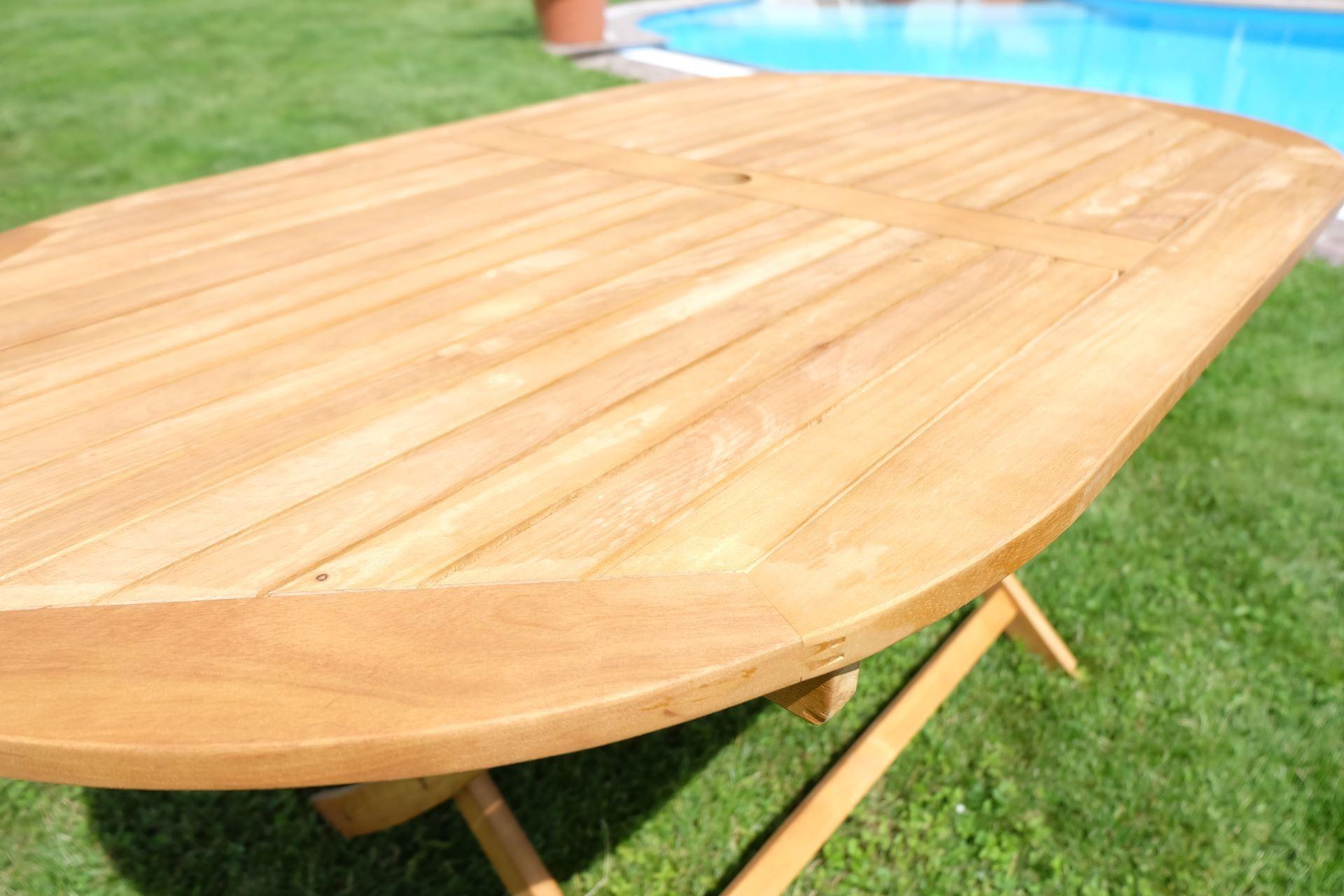 Klapptisch holztisch gartentisch garten tisch oval for Holztisch garten