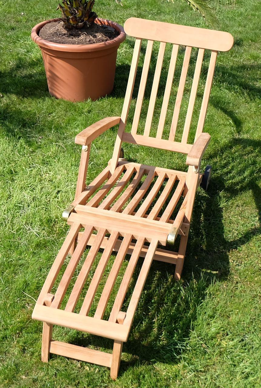 hochwertiger teak steamer deckchair liegestuhl sonnenliege klappsessel holz ge lt mit r dern. Black Bedroom Furniture Sets. Home Design Ideas