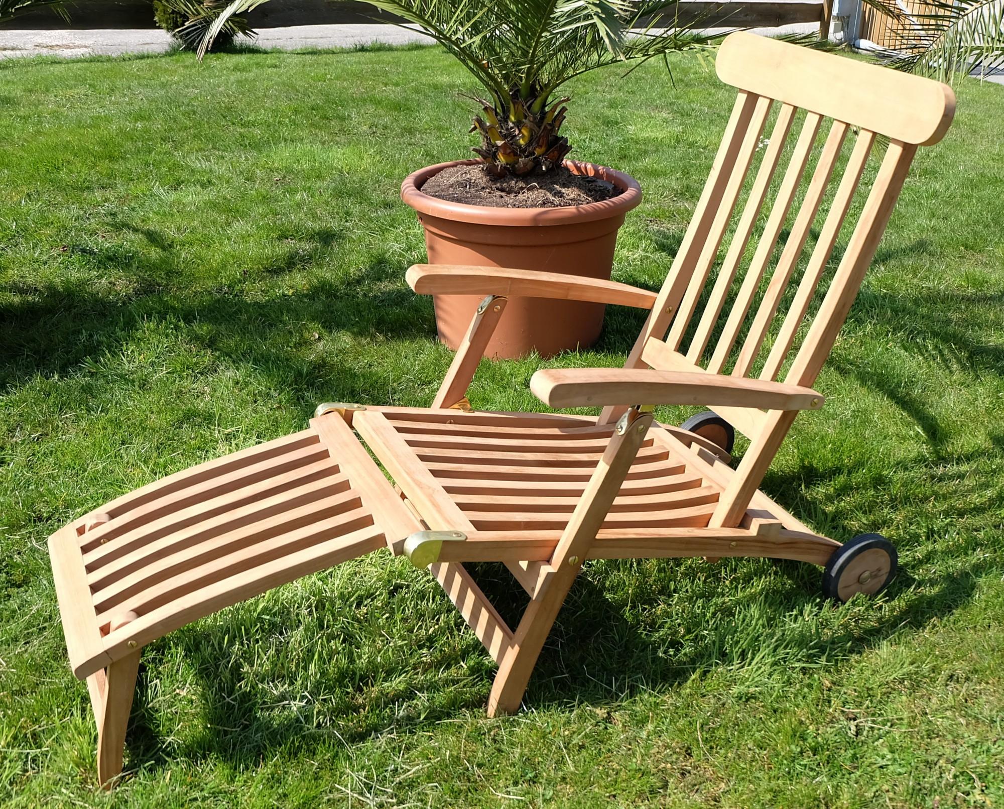 hochwertiger teak steamer deckchair liegestuhl sonnenliege. Black Bedroom Furniture Sets. Home Design Ideas