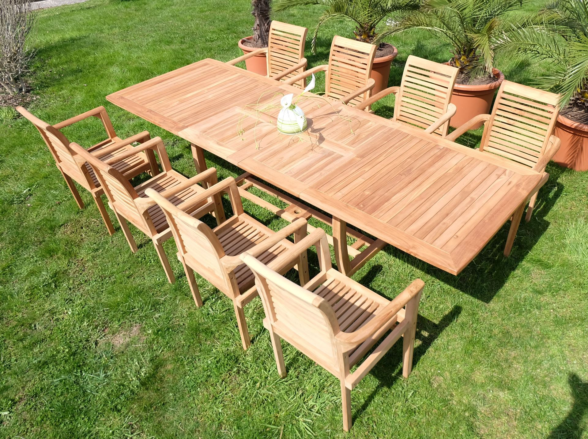 echt teak gartengarnitur gartenset gartenm bel xxxl ausziehtisch 8 st hle alpen ebay. Black Bedroom Furniture Sets. Home Design Ideas