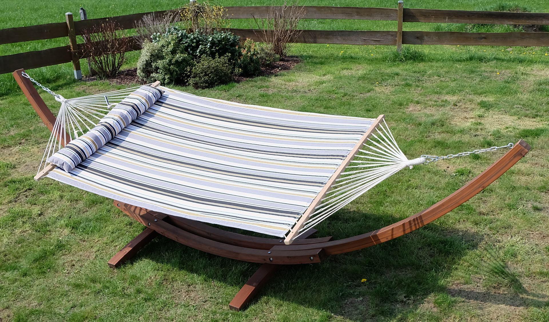 410cm h ngemattengestell holz l rche mit stab h ngematte. Black Bedroom Furniture Sets. Home Design Ideas