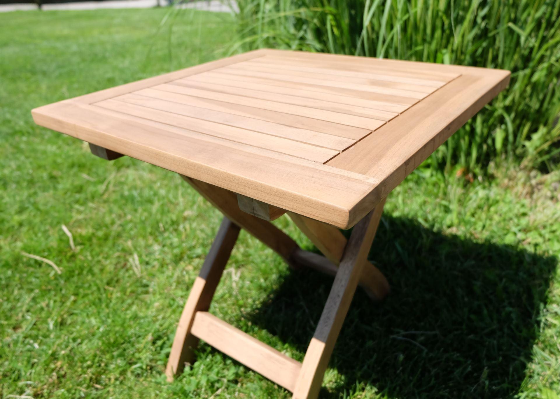 teak klapptisch holztisch gartentisch garten tisch beistelltisch 45x45cm holz ge lt picnic alles