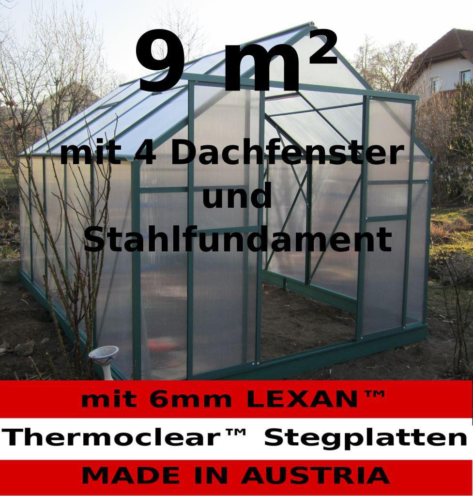 9m alu gew chshaus glashaus treibhaus stahlfundament 4 fenster 6mm stegplatten ebay. Black Bedroom Furniture Sets. Home Design Ideas