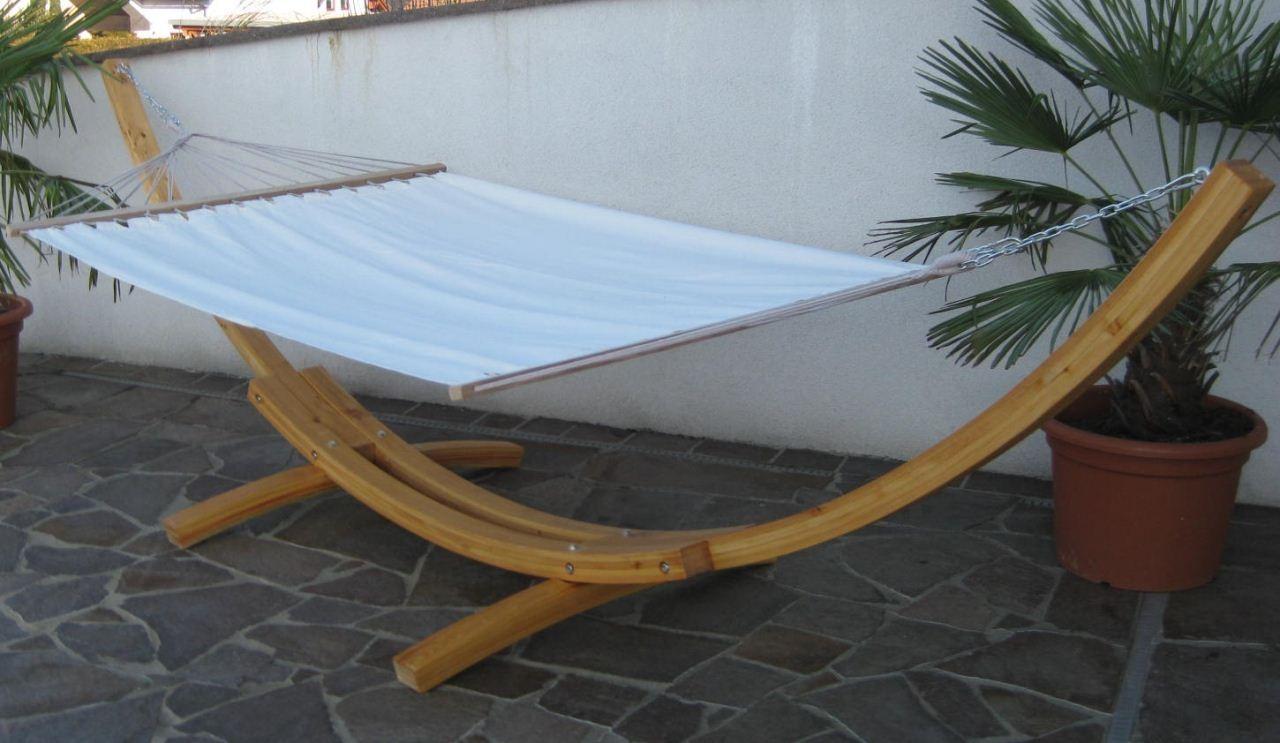 h ngemattengestell h ngematte mit gestell 410cm holz l rche mit matte natur ebay. Black Bedroom Furniture Sets. Home Design Ideas