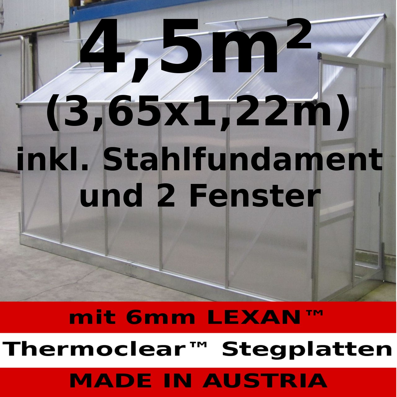 4 5m anlehn gew chshaus anlehngew chshaus glashaus 6mm stegplatten 2 fenster ebay. Black Bedroom Furniture Sets. Home Design Ideas